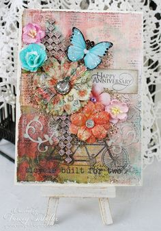 Scraps of Elegance scrapbook kits: DIY Prima Royal Menagerie mixed media anniversary card video tutorial. Tracey Sabella created this beautiful handmade card with our Oct. Tiffany's Style scrapbooking kit, and did a youtube step-by-step tutorial to show you how. Find our kits at www.scrapsofdarkness.com