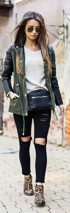 army green jacket with leather sleeves, ripped black jeans, leopard print booties