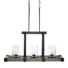 Kichler Lighting Barrington W Anvil Iron With Driftwood Kitchen Island Light  With Seeded Shade