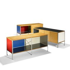 Charles and Ray Eames; #ESU-100-C Birch Plywood, laminated Plywood; lacquered Masonite, Zinc-Plated Steel and Rubber Cabinets for Herman Miller, 1950.
