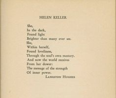 Langston Hughes -- poem about Helen Keller