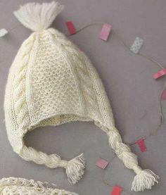 Красивая детская шапочка спицами фантазийным и сетчатым узором со схемой и…