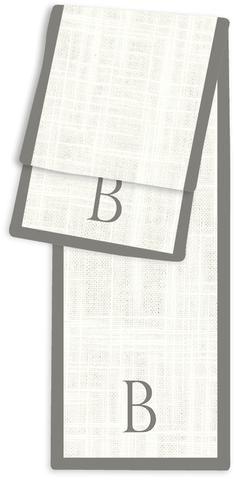 1-Letter Block Cream and Charcoal Monogram Table Runner