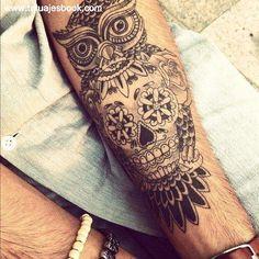 Sugar skull owl tattoo, a cross tattoo designs, girly heart tattoos Owl Skull Tattoos, Owl Tattoos On Arm, Forearm Tattoo Men, Love Tattoos, Unique Tattoos, Beautiful Tattoos, Body Art Tattoos, Tattoo Owl, Mens Tattoos