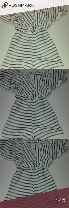 Romper White with black stripes romper. Off the shoulder and form fitting😍😍😍 Shorts