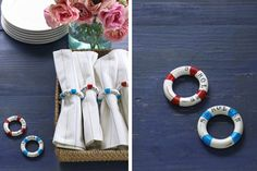 Life Preserver Napkin Rings (made from shower curtain rings!) | 36 Utterly Charming Nautical DIYs