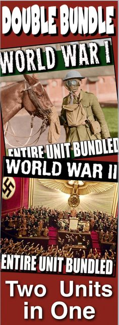 World War I and World War II Units (World History), two units in one, covers the atmosphere in Europe leading up the the assassination of Archduke Franz Ferdinand, World War I, World War II and finishes with the Nuremberg Trials and the U.S. occupation of Japan. This unit is a combination of World War I Unit Bundled and World War II Unit Bundled. Unit includes, warm up PowerPoints, informational text documents, including timelines with questions, a primary source documents, exit tickets…