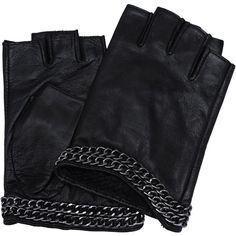 Karl Lagerfeld K/Chain Gloves (200 RON) ❤ liked on Polyvore featuring accessories, gloves, other, natural, fingerless gloves, polka dot gloves, dot gloves, karl lagerfeld and punk gloves