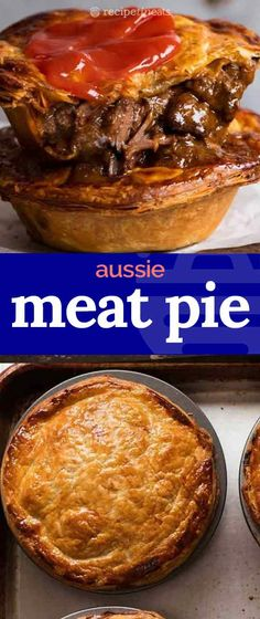 Meat Pie - - Meat Pie Foods to cook. The great Australian meat pie – made at home! Buttery shortcrust base filled with slow cooked fall apart chunky beef smothered in a rich gravy, topped with puff pastry. Way WAY better than your average bakery! Slow Cooker Beef, Slow Cooker Recipes, Australian Meat Pie, Aussie Pie, Australian Recipes, British Recipes, Russian Recipes, Meat Recipes, Cooking Recipes