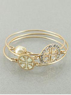 Set of 3 White and Goldtone Cross Bangle by JewelJunkieShop, $22.99