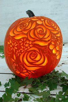 This floral pumpkin is the prettiest.