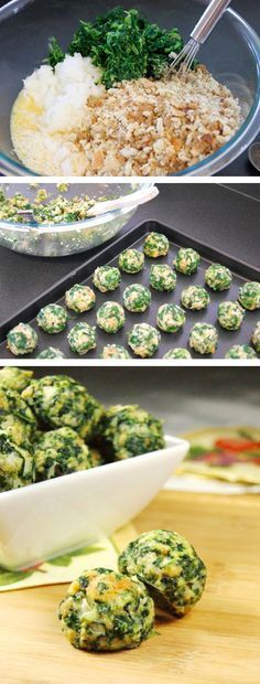 Parmesan Spinach Balls: 2 ounce) packages frozen chopped spinach, thawed and drained 2 cups Italian-style seasoned bread crumbs 1 cup grated Parmesan cheese cumulated 4 small green onion, finely chopped 4 eggs, lightly beaten salt and pepper to taste Vegetarian Recipes, Cooking Recipes, Healthy Recipes, Cooking Kids, Whole30 Recipes, Simple Recipes, Cooking Food, Spinach Balls, I Love Food