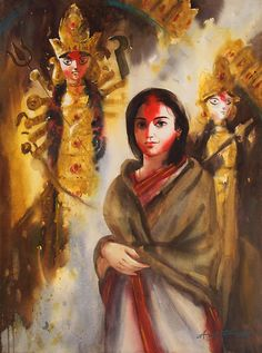 durga-puja-painting-by-ananta-mandal.JPG (710×955)