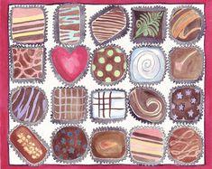Watercolor Painting - Box of Chocolates Art - Food Illustration Watercolor Art Print, 11x14 Wall Art, Candy Series no. 3. $20,00, via Etsy.