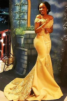 Plus Size Prom Dress, Sexy Gold Mermaid Off Shoulder Satin Beaded Long 2019 African American Prom Dress, Shop plus-sized prom dresses for curvy figures and plus-size party dresses. Ball gowns for prom in plus sizes and short plus-sized prom dresses African Lace Dresses, African Fashion Dresses, African Print Fashion, Beaded Dresses, Dress Fashion, African Formal Dress, Fashion Clothes, Fashion Outfits, Fashion Trends