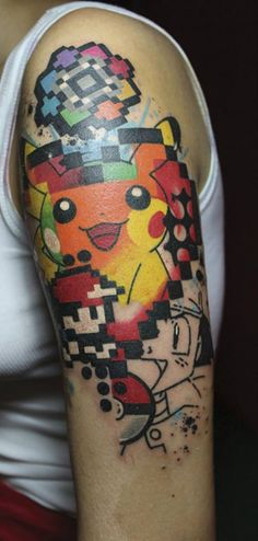 Everyone will get so used to the tattoo's they will provide you all a complimentary Pokemon tattoo on your arm or forehead which is the barcode. Tattoo Geek, Go Tattoo, Gaming Tattoo, Swag Tattoo, Nerd Tattoos, Great Tattoos, Body Art Tattoos, Small Tattoos, Sleeve Tattoos