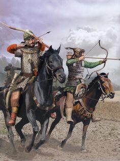 Late Roman Cavalryman and Hunnic Archer ride into battle, c. AD 430.