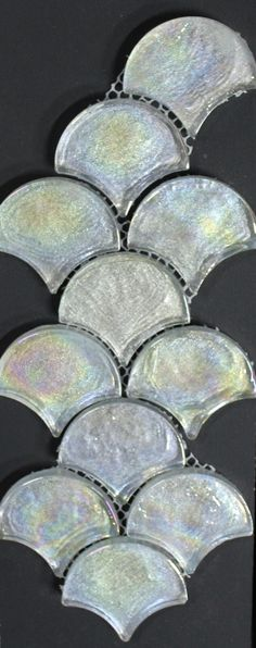 A modern twist on a glass fish scale mosaic, suitable for bathrooms, splash backs, feature walls. Bathroom Renovations, Bathrooms, Rainbow Glass, Feature Walls, Fish Scales, Mosaic Tiles, Modern, Mosaic Pieces, Trendy Tree
