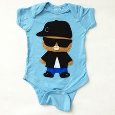 Handmade Felt Appliqued Eazy-E Rapper Bodysuit Onesie - Available in Different Famous Rappers ... Price: $29.99 ... Where to Buy: AlwaysFits.com #rap #rappers #baby