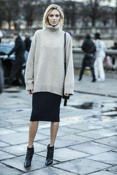 oversized sweater + knee length skirt