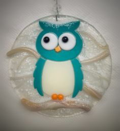 Wintery Owl Fused Glass Ornament