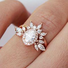 Oval Moissanite Unique Engagement Rings Set, Athena & her Crown, Moissanite Bridal Rings Set, Moissanite Wedding Rings Set, gift for her #MoissaniteWedding #14kGoldRings #YellowGoldRing #RingWithSideBand #EngagementRingsSet #MoissaniteRing #OvalHaloRing #CrownRing #UniqueBridalSet #BridalSetRings Moissanite Wedding Rings, Diamond Wedding Rings, Bridal Rings, Engagement Ring Settings, Engagement Rings, Cluster, Oval Diamond, Ring Verlobung, Unique Rings