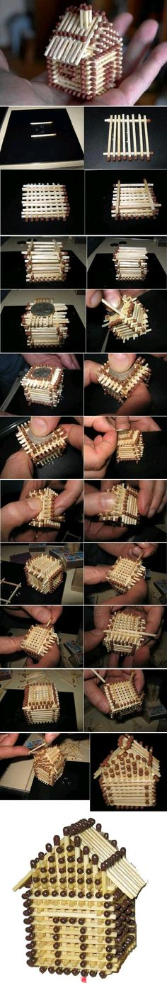 This little log cabin is made from matches. Great tutorial.