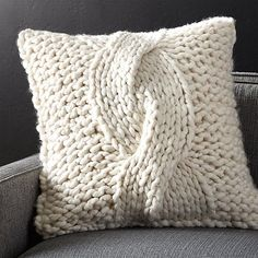 Cozy Knit Ivory Pillow | Crate and Barrel