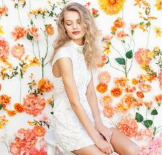 Lace Dress + Pink & Orange Flower Backdrop