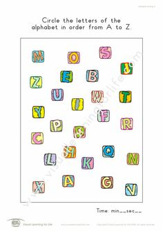 """In the """"Alphabet Circling"""" worksheets, the student must circle the letters of the alphabet in order from A to Z. Learning For Life, Visual Learning, Figure Ground Perception, Order Letter, Worksheets, Alphabet, Student, Letters, Math"""