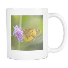 Yellow Butterfly Tea Cup or Coffee Mug, 11 oz Ceramic Mug with Insect Photography