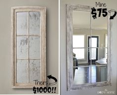 """DIY Restoration Hardware French Window Pane Oversized Mirror - This oversized mirror comes in at 55""""h x 30 w"""". It has the style of RH but on a DIY budget."""