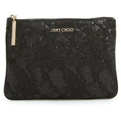 Women's Jimmy Choo 'Nina' Lace Glitter Fabric Pouch (458 CAD) ❤ liked on Polyvore featuring bags, handbags, clutches, black, jimmy choo handbags, glitter clutches, jimmy choo clutches, pouch purse and jimmy choo