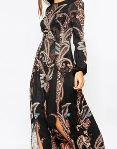 Image 3 of Warehouse Folk Print Maxi Dress