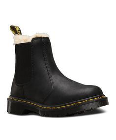 Martens Women's Leonore Fur Lined Chelsea Boot, Size: 9 M, Black/Black Burnished Wyoming Oily Leather Dr. Martens, Dr Martens Stiefel, Leather Chelsea Boots, Black Leather Boots, Real Leather, Dr Martens Chelsea Boot, Wyoming, Best Winter Boots, Fur Lined Boots
