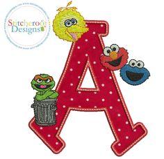 Sesame Street A applique embroidery design.