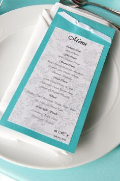 #Tiffany Blue Wedding ... #blue wedding table ... Tiffany blue Menu  www.egovolo.com