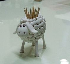 Poterie - Porte pics apéro en forme de mouton - Sheep Toothpick Holder - Adorable!