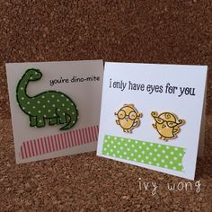 Love the use of pattern paper for the characters!! mini valentine's or 'just because' cards by ishouldbsleepingbut, via Flickr
