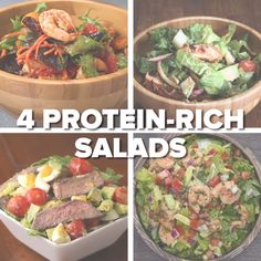 Healthy eating · cooking recipes · 4 protein-rich salads protein rich recipes, protein for salads, salad recipes healthy Healthy Snacks, Healthy Eating, Healthy Recipes, Diet Recipes, Protein Rich Recipes, Protein Foods, Paleo Diet Snacks, Protein Veggie Meals, High Protein Salads