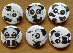 """1.5"""" cute panda button pins! Who can resist the cuteness?! You can buy them in sets.  You can buy the default full set or choose specific buttons that you like for the set. Just let me know which characters in the set you would like after you order."""