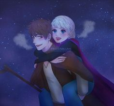 """frozenblume: """" Remember this fanart?Jack to suit the theme in the Jelsa Week. But yeah, it's originally a Peasant AU. Jelsa, Sailor Moon Background, Jack Frost And Elsa, Rise Of The Guardians, Princess Luna, Queen Elsa, The Big Four, Stars At Night, Disney Art"""