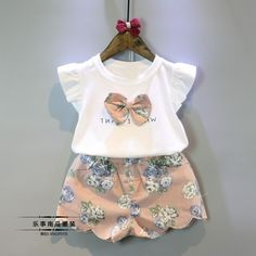 Girls Clothing Sets 2017 Summer Children Clothing Wear Pearl Chiffon T-Shirts + Shorts Sets Kids Clothes For Girl - Kid Shop Global - Kids & Baby Shop Online - baby & kids clothing, toys for baby & kid Toddler Girl Outfits, Kids Outfits, Summer Outfits, Dress Summer, Toddler Dress, Summer Clothes, Toddler Girls, Baby Girls, Baby Girl Fashion
