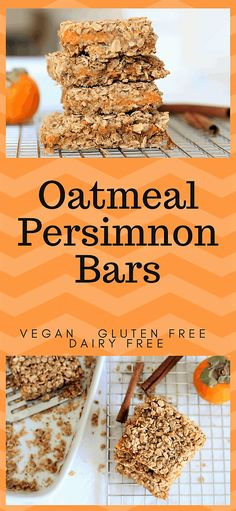 Oatmeal Persimmon Bars-juicy, delicious snack. Vegan, gluten free, df.