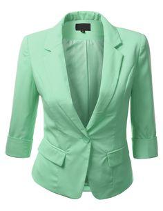 Womens 3/4 Sleeve Textured Blazer #doublju