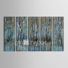 Hand-Painted Abstract Five Panels Canvas Oil Painting For Home Decoration 2017 - $108.49