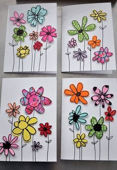 paper scraps flower cards, crafts