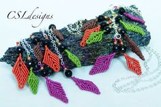 Autumn leaves macrame earrings/necklace