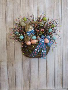 Rustic Easter Decor Easter Wreath Bunny Door Basket