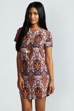Kelly Paisley Print Short Sleeve Shift Dress - Robes de jour - Robes - Vêtements Femme